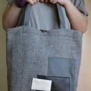 duża szara torba z aplikacją trzech prostokątów