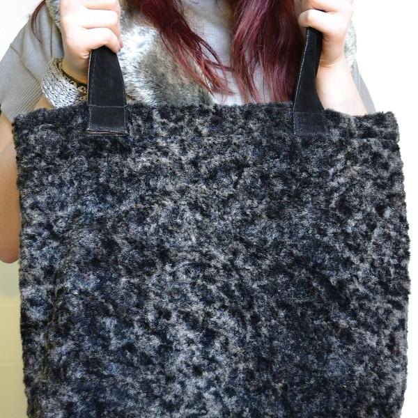 Ciemnobrązowa torba ze sztucznego futra